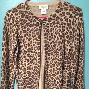 Talbots leopard print cardigan